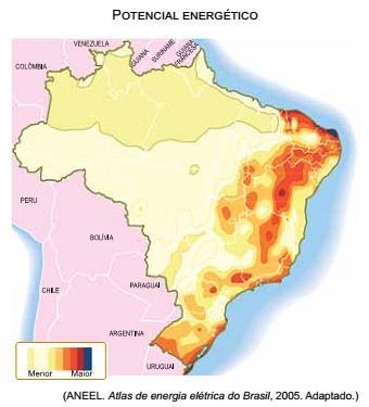 Mapa com potencial enérgico do Brasil (Aneel) — enunciado de questão da Unesp 2018