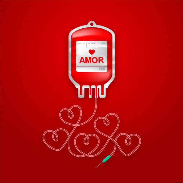 A doação de sangue é um ato de amor ao próximo.