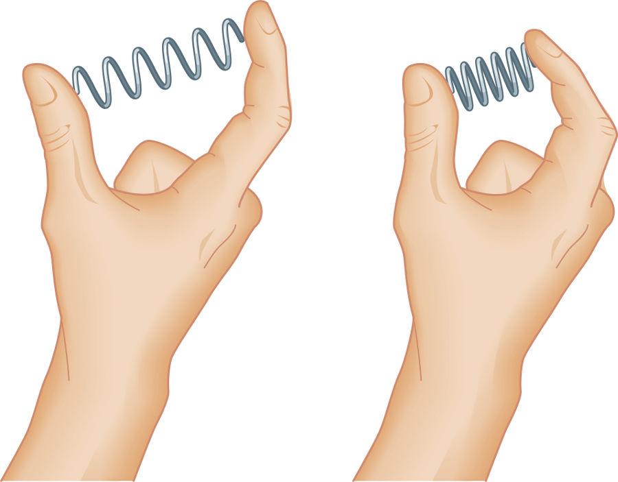 Quando comprimimos a mola, ela ganha energia potencial elástica e produz uma força contrária à compressão.