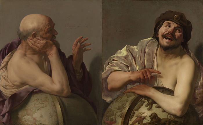 À esquerda, Heráclito, e à direita, Demócrito, ambos pintados pelo pintor holandês Hendrik ter Brugghen.