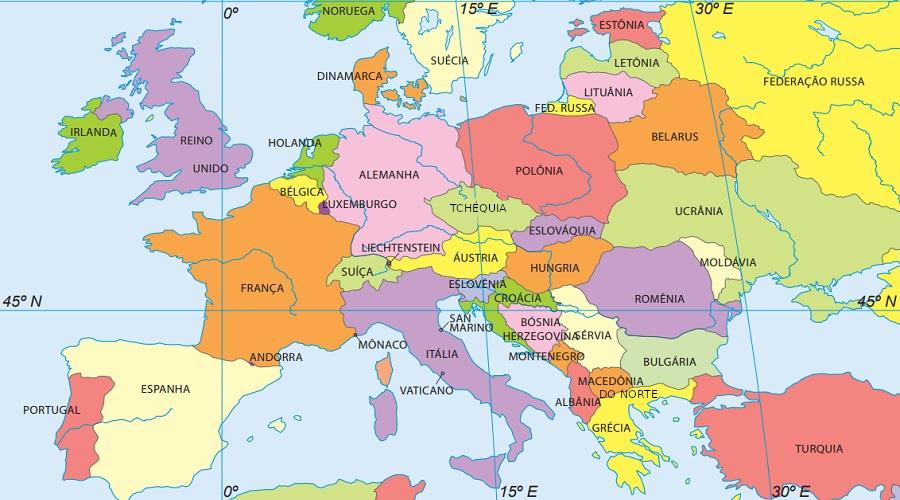 Países da Europa. Fonte: Instituto Brasileiro de Geografia e Estatística.