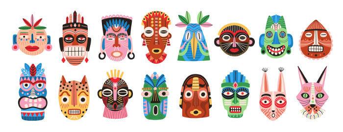 Diferentes máscaras são utilizadas em rituais e cerimônias típicas do folclore de diferentes culturas.