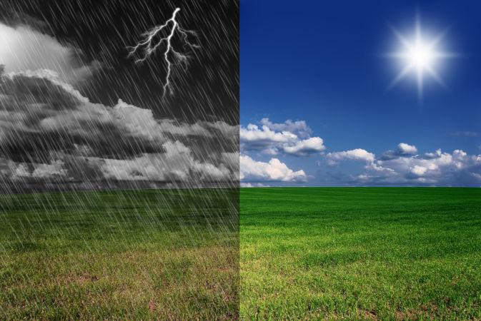 O tempo pode mudar de uma hora para outra, passando de calor a frio ou de seco a úmido.