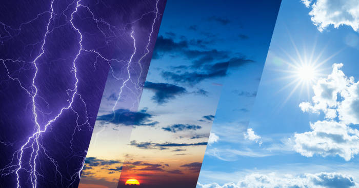 As variações observadas na atmosfera ao longo de um dia dizem respeito às condições do tempo de um determinado lugar.