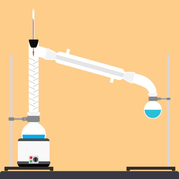 A coluna de fracionamento usada na destilação fracionada serve para separar os vapores dos gases com temperaturas de ebulição diferentes.