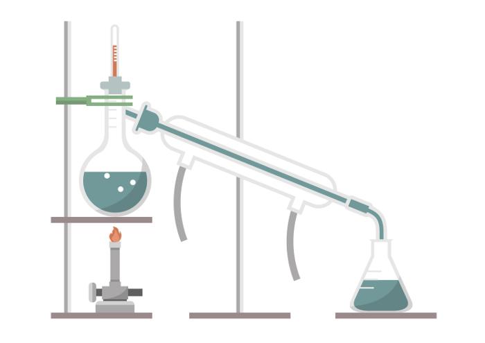 A destilação simples pode ser utilizada também para separação de dois líquidos miscíveis, mas com temperaturas de ebulição bem distantes.