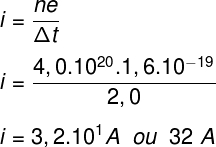 De acordo com o cálculo realizado, a corrente elétrica no fio tem intensidade de 32 A.