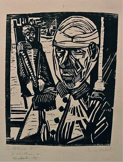 Erich Heckel, Dois homens feridos, 1915.