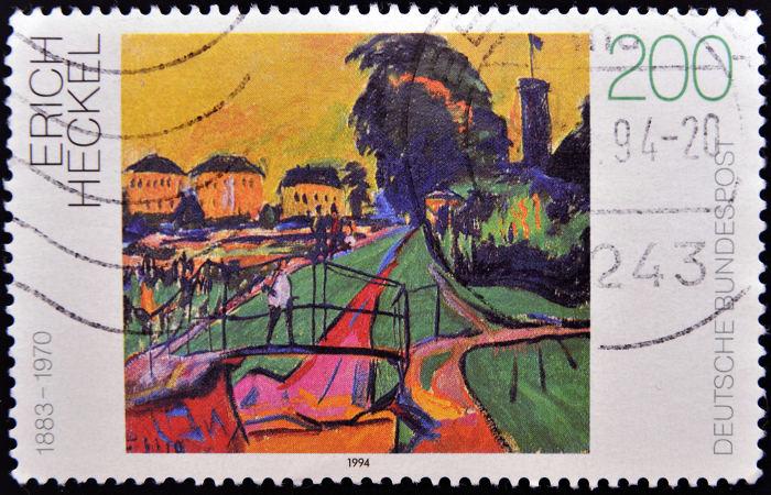 Selo alemão com representação de paisagem expressionista de Erich Heckel. [1]