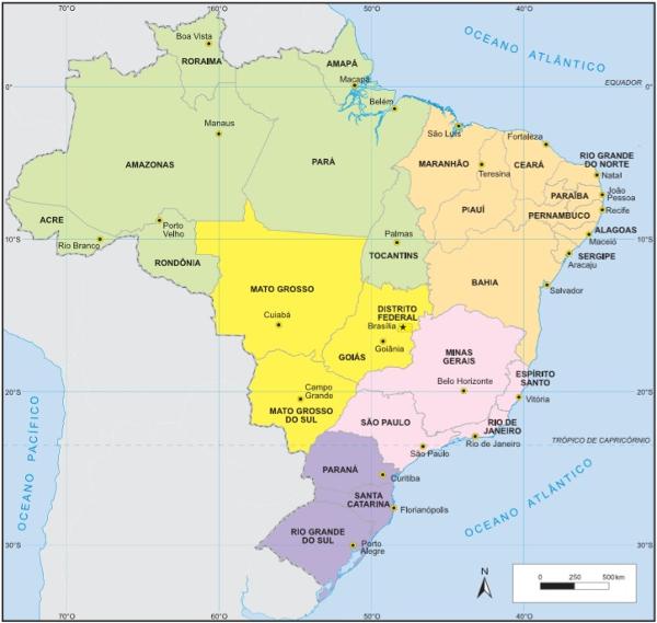 Mapa político do Brasil. (Fonte: Instituto Brasileiro de Geografia e Estatística)