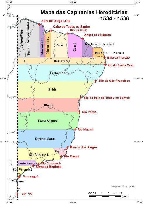 Novo mapa das capitanias hereditárias segundo estudos conduzidos por Jorge Pimentel Cintra. [1]