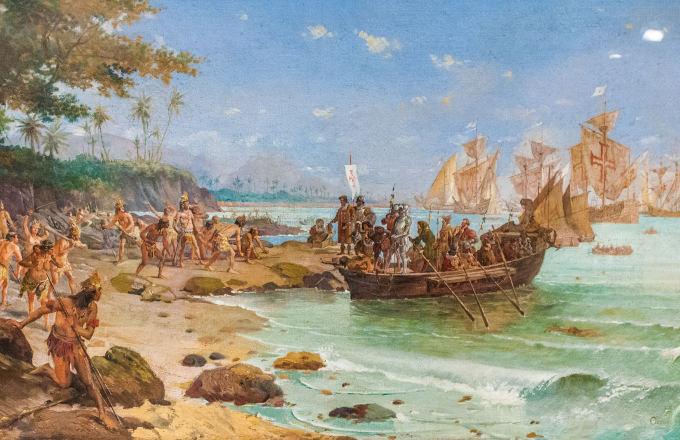 Desembarque de Pedro Álvares Cabral em 1500, por Oscar Pereira da Silva, 1902.
