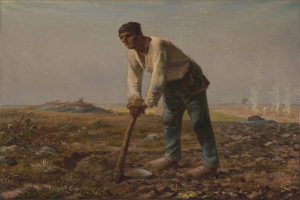 Homem com uma enxada, obra de Jean-François Millet, tido como precursor do realismo pelas suas representações de trabalhadores rurais.