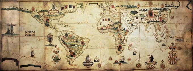 Mapa do império marítimo espanhol e português, publicado em 1623. A extensão do império colocava desafios à administração colonial.