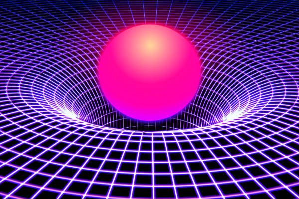 A figura ilustra a distorção do espaço-tempo, produzida por uma grande massa.