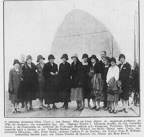 Publicação da Revista da Semana (21 de agosto de 1926, Rio de Janeiro) sobre a viagem de Marie e Irène ao Brasil. [5]