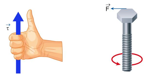 O sentido do torque pode ser determinado pela regra do parafuso, pela direção do polegar.