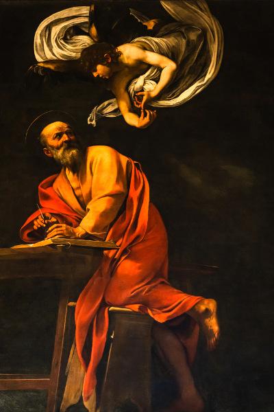 A pintura de Caravaggio, Inspiração de São Mateus, de 1602, apresenta características barrocas marcantes, como presença de luz e sombra, detalhamento. [2]