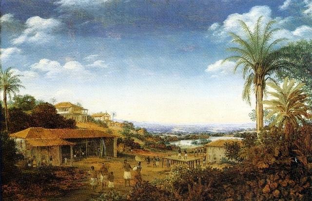 Engenho de Pernambuco, por Frans Post. Os engenhos eram as unidades produtivas responsáveis por todo o processo de fabricação do açúcar brasileiro.