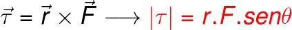 O torque é o produto vetorial entre a distância ao eixo de rotação e a força aplicada.