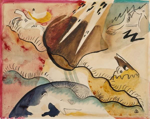 Paisagem chuvosa, de Wassily Kandinsky. Pioneiro do movimento abstracionista e também pertencente à estética expressionista.