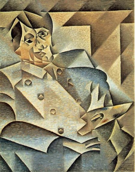 Retrato de Pablo Picasso, grande nome do cubismo, de autoria de Juan Gris, também cubista.