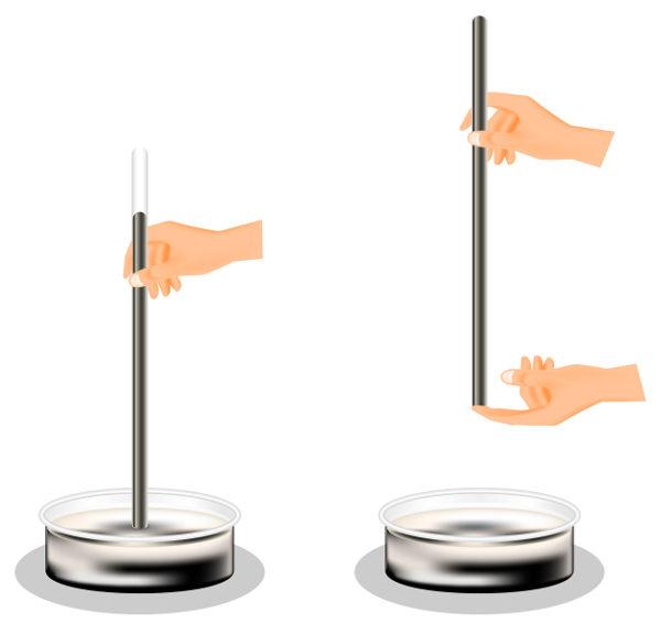 O barômetro de Torricelli era um recipiente e um tubo de vidro cheios de mercúrio.