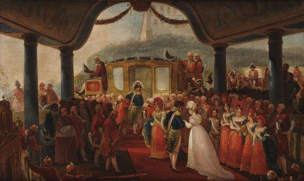 Pintura retrata a chegada de Leopoldina ao Brasil, em novembro de 1817. [1]