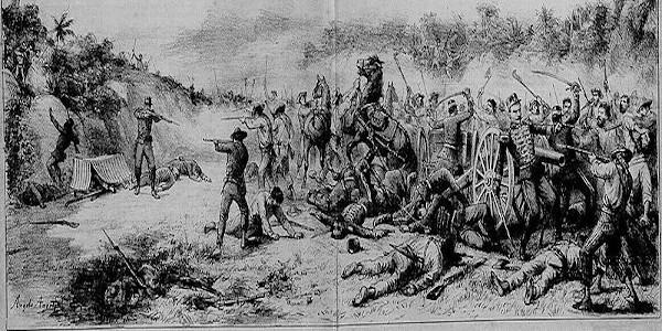 Imagem que retrata a Guerra de Canudos publicada na Revista Don Quixote (1897).