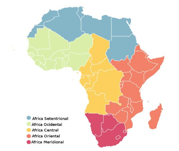 O continente africano é dividido em cinco grandes regiões