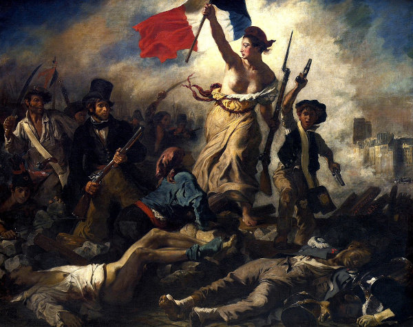 A tela Liberdade guiando o povo é um símbolo da Revolução Francesa, que inspirou a implantação do sufrágio na França.