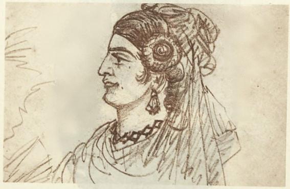 Desenho de Castro Alves que retrata a atriz e poetisa portuguesa Eugênia Câmara.
