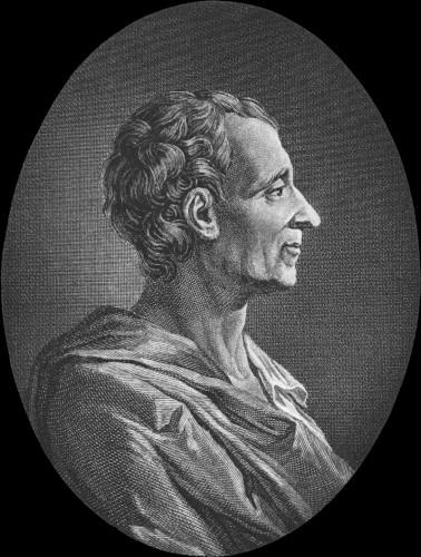 Montesquieu defendia que o poder deveria ser dividido em três: Executivo, Legislativo e Judiciário.