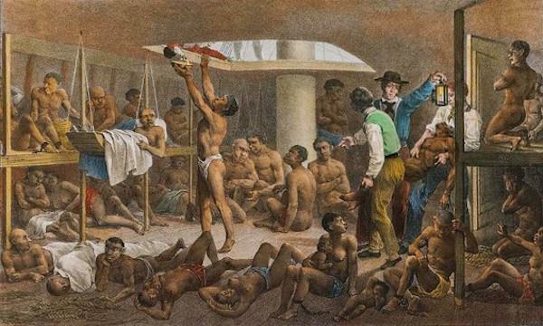 """""""Navio negreiro"""", obra do pintor alemão Rugendas."""