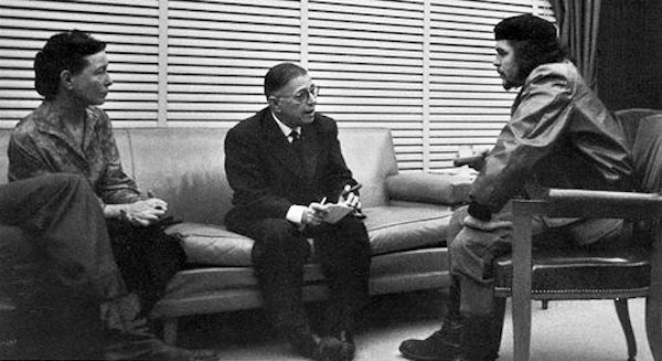 Sartre e Beauvoir com Che Guevara em Cuba.