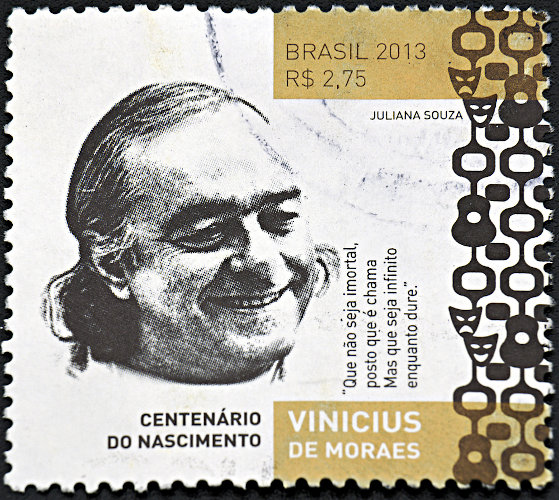 Selo comemorativo em homenagem aos cem anos de nascimento de Vinicius de Moraes.
