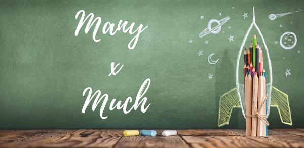 Em inglês many e much são usados como quantificadores de substantivos contáveis ou incontáveis
