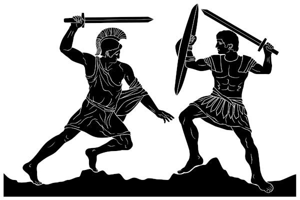 Aquiles e Heitor lutando na guerra de Troia.