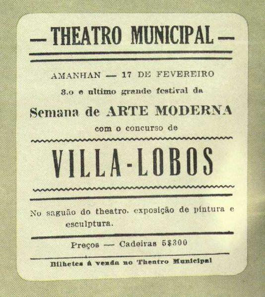 Cartaz da Semana de Arte Moderna, em 1922.