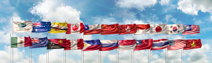Bandeiras dos 21 países-membros da Apec.