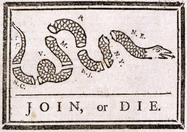 Em 1754, ele propôs a união das Treze Colônias em um Estado para se defender dos franceses, mas sua proposta foi recusada.