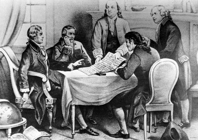 Franklin participou do comitê responsável pela elaboração da Declaração de Independência dos Estados Unidos, em 1776.