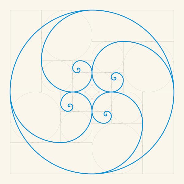 Espiral de proporção áurea.