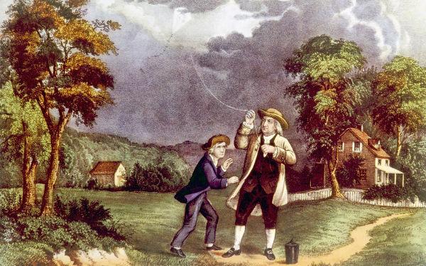 Em 1752, Franklin confirmou que os raios são um fenômeno natural elétrico.