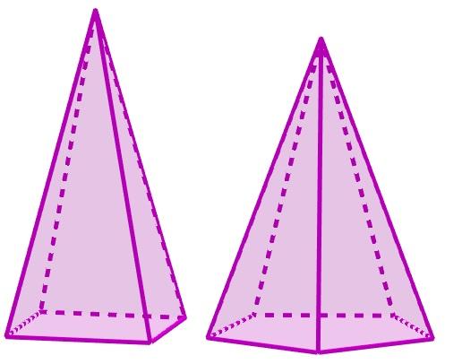 Pirâmides de base quadrada e pentagonal