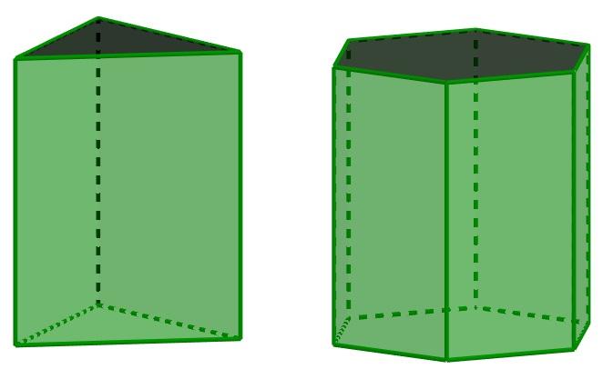 Prismas de base triangular e hexagonal