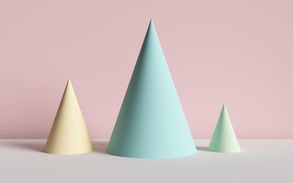 Os cones são sólidos geométricos formados a partir da rotação de um triângulo.