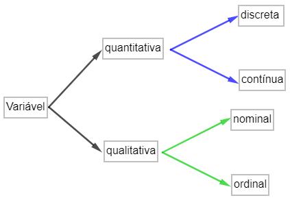 Organograma que representa os possíveis tipos de variável.