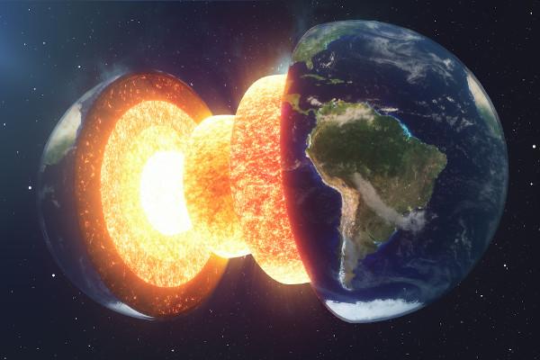 Esquema representando as camadas internas da Terra: crosta, manto superior e inferior, e núcleo.