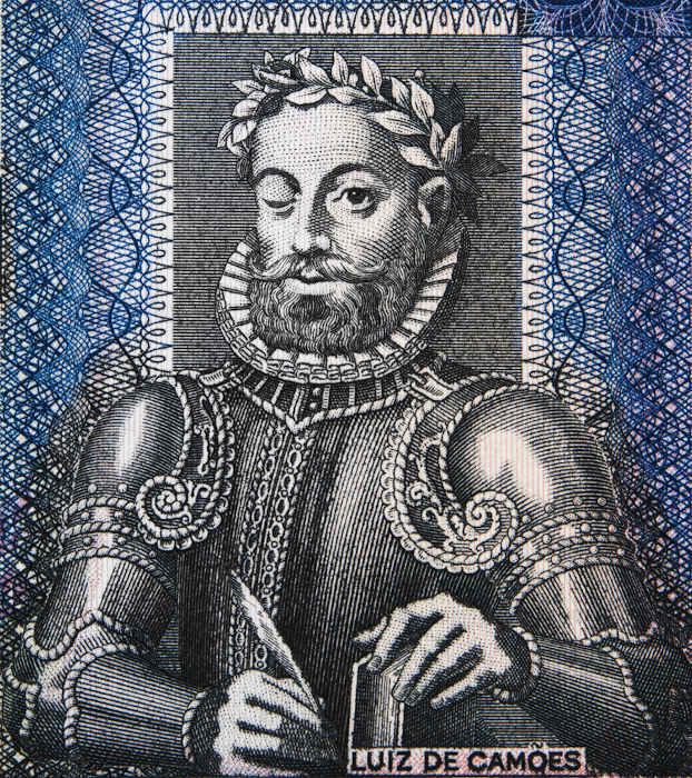 Imagem de Camões em uma cédula 50 escudos, de Angola.